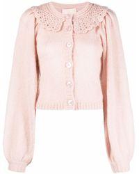 byTiMo Crochet-collar Cardigan - Pink