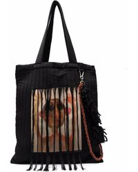 Song For The Mute Painterly-print Tassel Tote Bag - Black