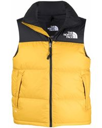 The North Face Logo-embroidered Padded Gilet - Yellow