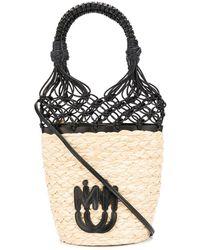 Miu Miu Woven Leather & Straw Bucket Bag - Multicolour