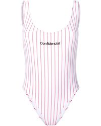 Marcelo Burlon Confidencial Striped Swimsuit - White
