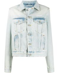 Off-White c/o Virgil Abloh Bleached Boxy Denim Jacket - Blue