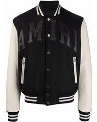 Amiri Logo-appliqué Varsity Bomber Jacket - Black