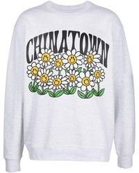 Chinatown Market Smiley Flower Power Sweatshirt - White