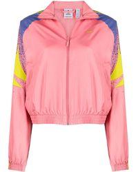 adidas Logo-print Zip-up Cropped Jacket - Pink