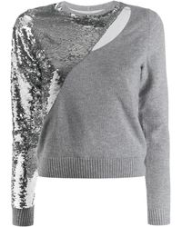 RTA Teagan Slashed Sequined Pullover Sweater - Gray