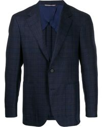 Canali Checked Single-breasted Blazer - Blue