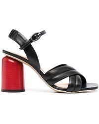 Halmanera Gilda Cross Strap Sandals - Black