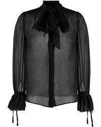 Saint Laurent Pussybow Silk Blouse - Black