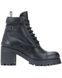 Miu Miu Military-style Ankle Boots - Black