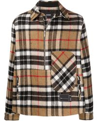 we11done Checked Half-zip Wool Shirt - Multicolour