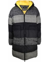 Dolce & Gabbana Stripe Pattern Padded Coat - Black
