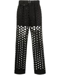Maison Margiela Hole Punched Tailored Trousers - Black