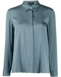 Theory Stretch-silk Fitted Shirt - Blue