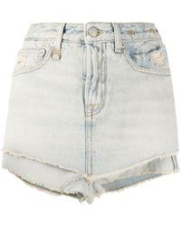 R13 Ashlyn Layered Denim Shorts - Blue