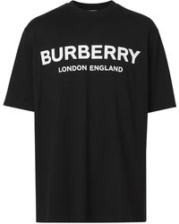 Burberry Logo Print Cotton T Shirt - Black