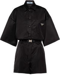 Prada Re-nylon Logo Patch Playsuit - Black