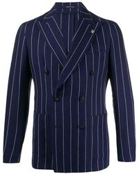 Tagliatore Darrel Striped Double-breasted Blazer - Blue