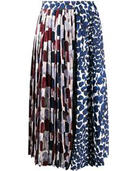 Prada - Abstract-print Pleated Skirt - Lyst