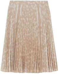 Burberry Deer Print Pleated Skirt - Natural