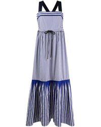 Tommy Hilfiger Pure Cotton Striped Tie Maxi Dress - Blue
