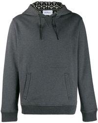 Ferragamo Men's Gancini-print Pullover Hoodie - Grey
