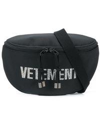Vetements Logo Embellished Belt Bag - Black