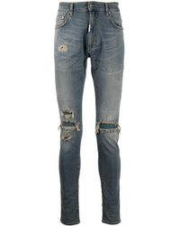 Represent Ripped-detailing Slim-fit Jeans - Blue