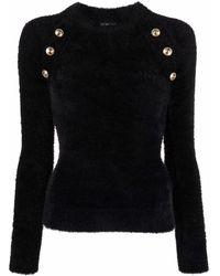 Versace Jeans Couture Button-embossed Faux-fur Jumper - Black
