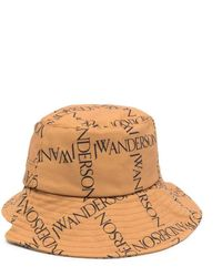 JW Anderson Asymmetric Logo-print Bucket Hat - Yellow
