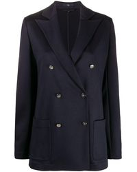 Fay Boxy Fit Double Breasted Blazer - Blue