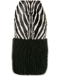 Saint Laurent Zebra-print Calf-hair Skirt - Black