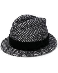 Dolce & Gabbana Striped Trilby Hat - Black