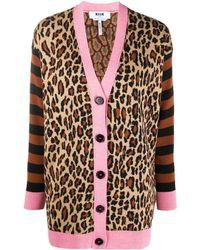 MSGM Leopard-print Cardigan - Black