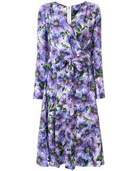 Dolce & Gabbana Wrap V-neck Floral Printed Dress - Purple