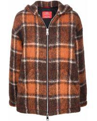 Paltò Check-print Hooded Jacket - Brown