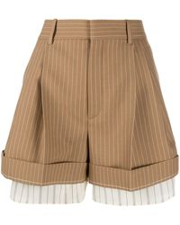 Chloé High-waisted Pinstriped Shorts - Brown