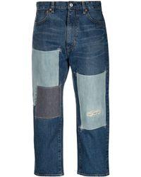 Junya Watanabe Patch-work Straight Leg Jeans - Blue