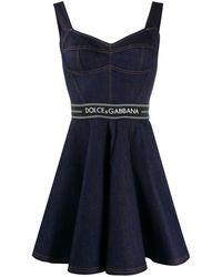 Dolce & Gabbana Short Denim Circle-skirt Dress With Belt - Blue