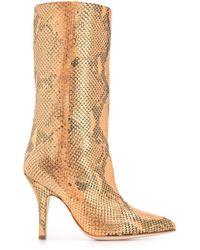 Paris Texas Snakeskin Effect Tall Boots - Orange