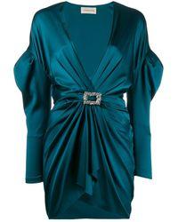 Alexandre Vauthier Ruched Cocktail Mini Dress - Blue