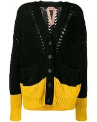 N°21 Two Tone Knitted Cardigan - Black