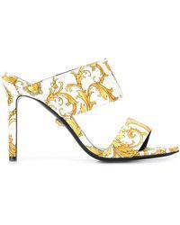 Versace Barocco Virtus Print Sandals - White