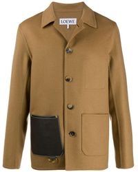 Loewe - Leather Patch Pocket Button-up Jacket - Lyst