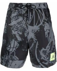 Nike Abstract-print Swimming Shorts - Grey