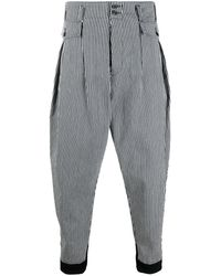 Maison Margiela High-waist Striped Work Pants - Blue