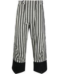 Kiko Kostadinov Cropped Striped Trousers - Black
