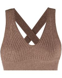 Loulou Studio Cross-strap Cashmere Cropped Top - Brown