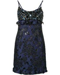 Prada Embellished Mini Dress - Blue