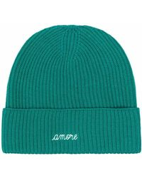 Maison Labiche Amore Embroidered Ribbed-knit Beanie - Green